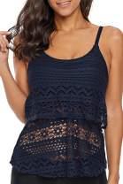 Astylish Womens Striped Printed Ruffled Flounce Tankini Swim Top No Bottom S - XXXL