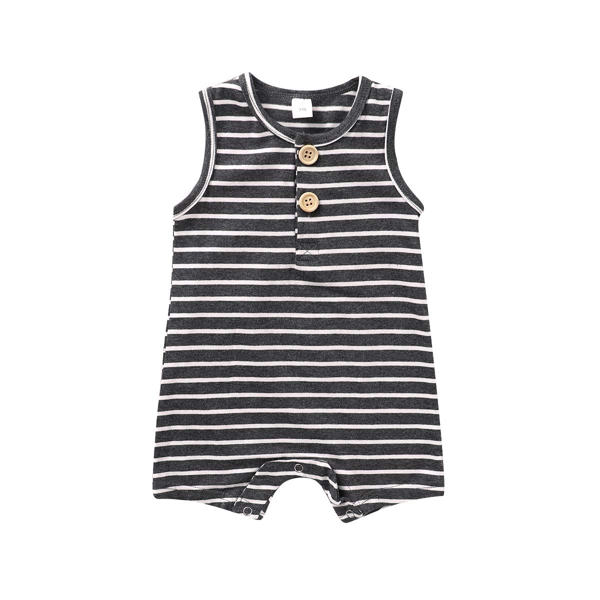 MODNTOGA Infant Unisex Baby Boy Girl Sleeveless Button Stripe Romper Bodysuit One Piece Jumpsuit Outfits Clothes