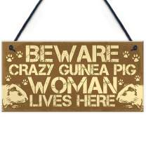 "Meijiafei Beware Guinea Pig Sign Accessories Gift for Women Novelty Animal Pet Gifts Cage Hutch Sign Home Door Plaque 10"" X 5"""