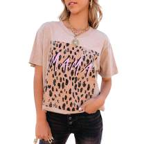 Women Short Sleeve Mama Leopard Print Tops Shirt for Women Mother's Day T-Shirt