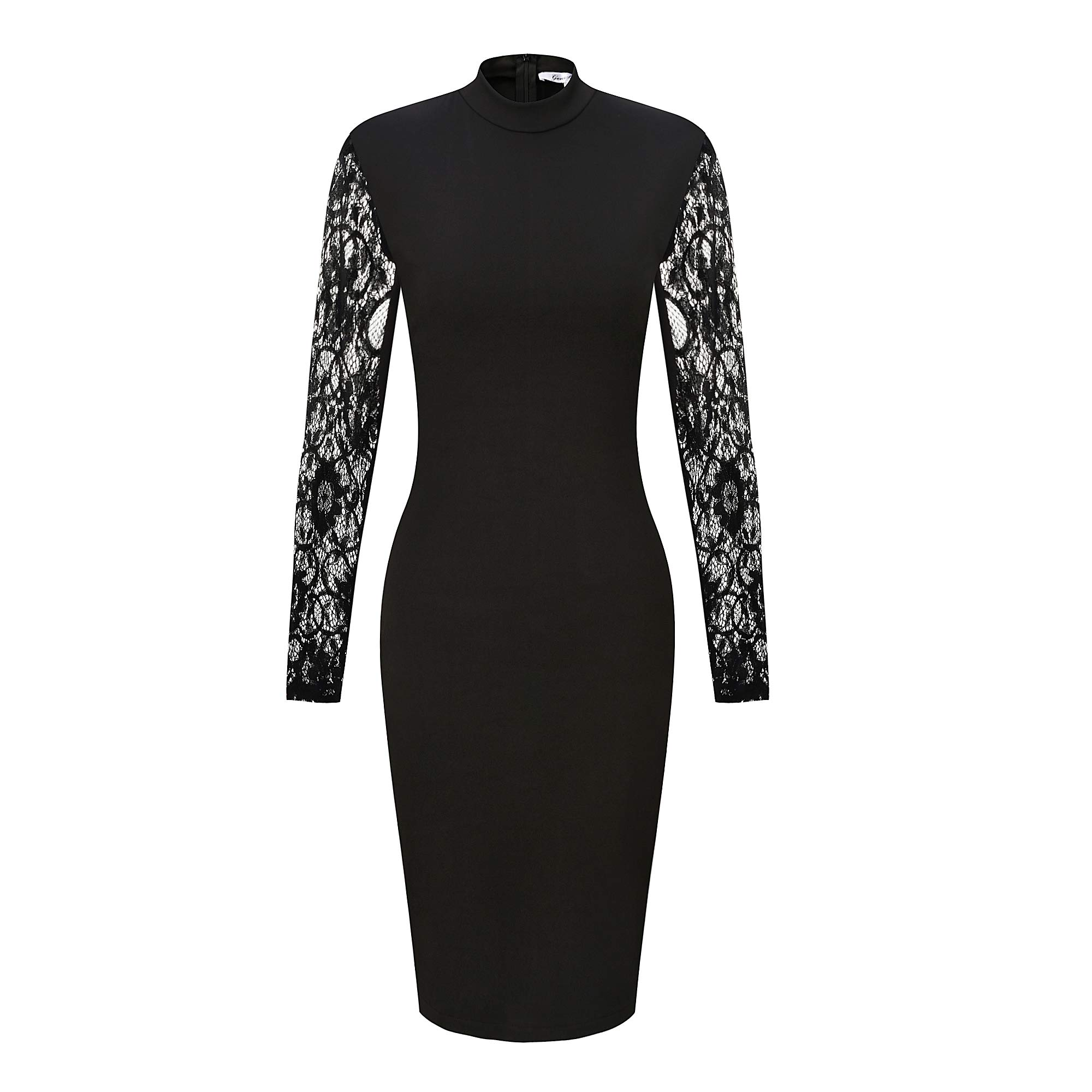 GENSHUO Womens Dresses Sexy Bodycon Long Sleeves Lace Design Crew Neck Above Knee Casual Party Cocktail Dress Black XXL