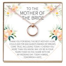 Dear Ava Mother of The Bride Gift Necklace: Parent of Bride Jewelry, 2 Linked Circles
