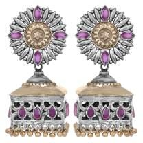 Aheli Uniquely Designed Oxidized Jhumki Earrings Faux Stone Studded Indian Ethnic Wedding Wear Fashion Jewelry for Women