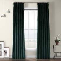 HPD Half Price Drapes VPYC-179759-108 Heritage Plush Velvet Curtain (1 Panel), 50 X 108, Forestry Green