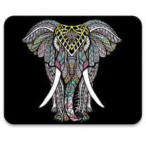 AUDIMI Mouse Pad Cute Elephant Ethnic Vintage Pattern Decorative Design
