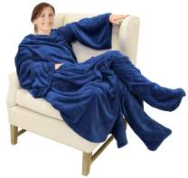 Catalonia Wearable Fleece Blanket with Sleeves and Foot Pockets for Adult Women Men,Micro Plush Comfy Wrap Sleeved Throw Blanket Robe Large,Navy