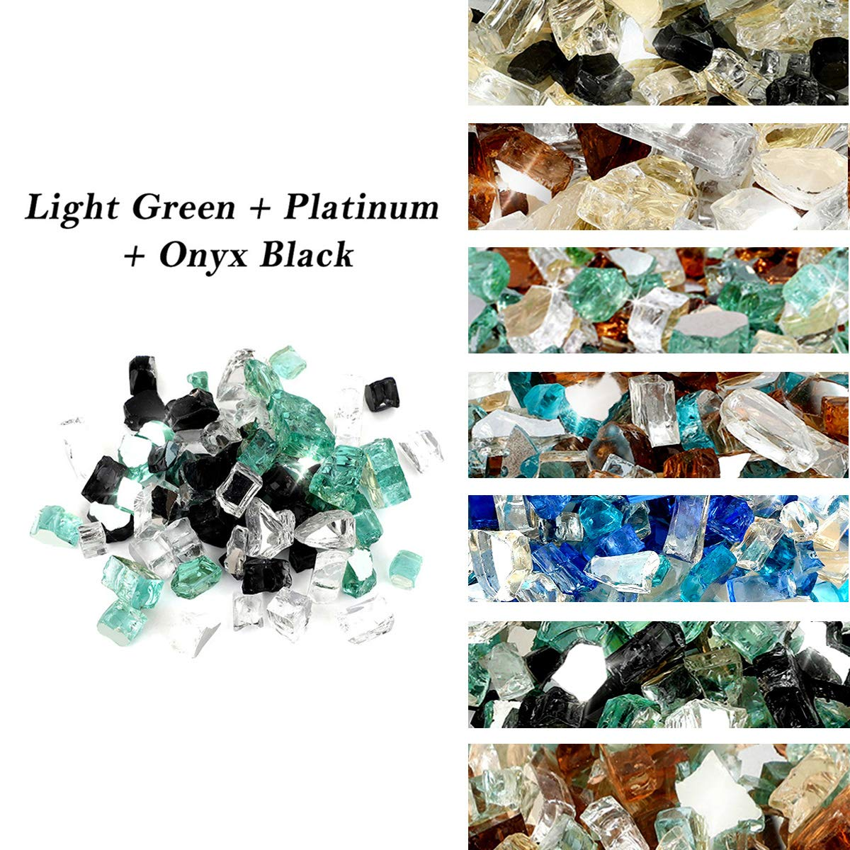 Skyflame 10-Pound Blended Fire Glass for Fire Pit Fireplace Landscaping - 1/2 Inch Reflective Tempered Fireglass Onyx Black, Platinum, Light Green