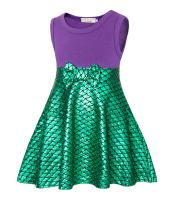 Cotrio Sleeveless Mermaid Dress Up Princess Costume Girls Fancy Party Dresses Halloween Cosplay Outfits Clothes Size 6 (120, 4-5Years, Purple Green)