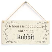 """Meijiafei A House is Not A Home Without A Rabbit - Lovely Rustic PVC Pet Sign/Plaque 10""""x5"""""""
