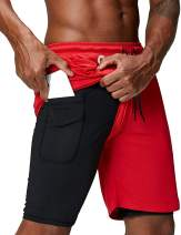 """JEKAOYI Men's 2 in 1 Running Shorts Inner Compression with Pockets 7"""" Workout Training Shorts"""