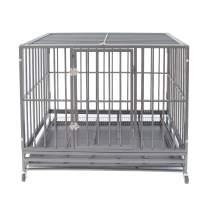 Polar Aurora Pet Dog Cage Heavy Duty Strong Metal Crate Kennel Playpen w/Lockable 4 Wheels&Tray