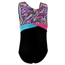 Leotard for Girl Gymnastics Sparkle Spliced Dancing Tumbling Skating Outfit