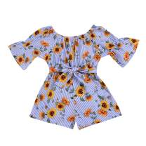 YOUNGER TREE Kids Toddler Baby Girls Summer Outfit Off-Shoulder Sunflower Overall Romper Jumpsuit Short Trousers Clothes