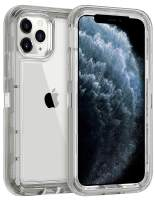 Coolden Hybrid Clear Phone Case for iPhone 11 Pro MAX 6.5 Inches, Heavy Duty Protective Dual Layer Shockproof Case with Hard PC Bumper Soft TPU Back for 2019 Release iPhone 11 Pro Max, Gray