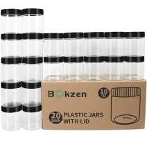 8 oz Upgraded Plastic Jars with Lids 20 Pack, Airtight Plastic Slime Containers for Kitchen & Household Food Storage of Dry Goods, Cosmetic, body butter and more, BPA Free, Black Lid