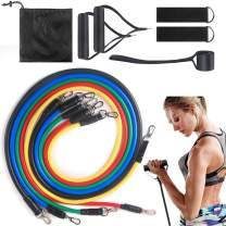 WROLEM Exercise Bands Set(11pcs) Resistancet Elastic Bands for Indoor Sports, Include Door Anchor,Foam Handle,Metal Foot Ring & Carrying Bag for Resistance Training, Home Workouts