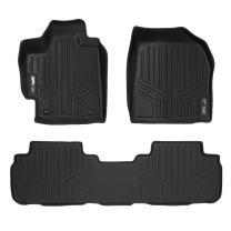 SMARTLINER Custom Fit Floor Mats 2 Row Liner Set Black for 2008-2013 Toyota Highlander Non Hybrid