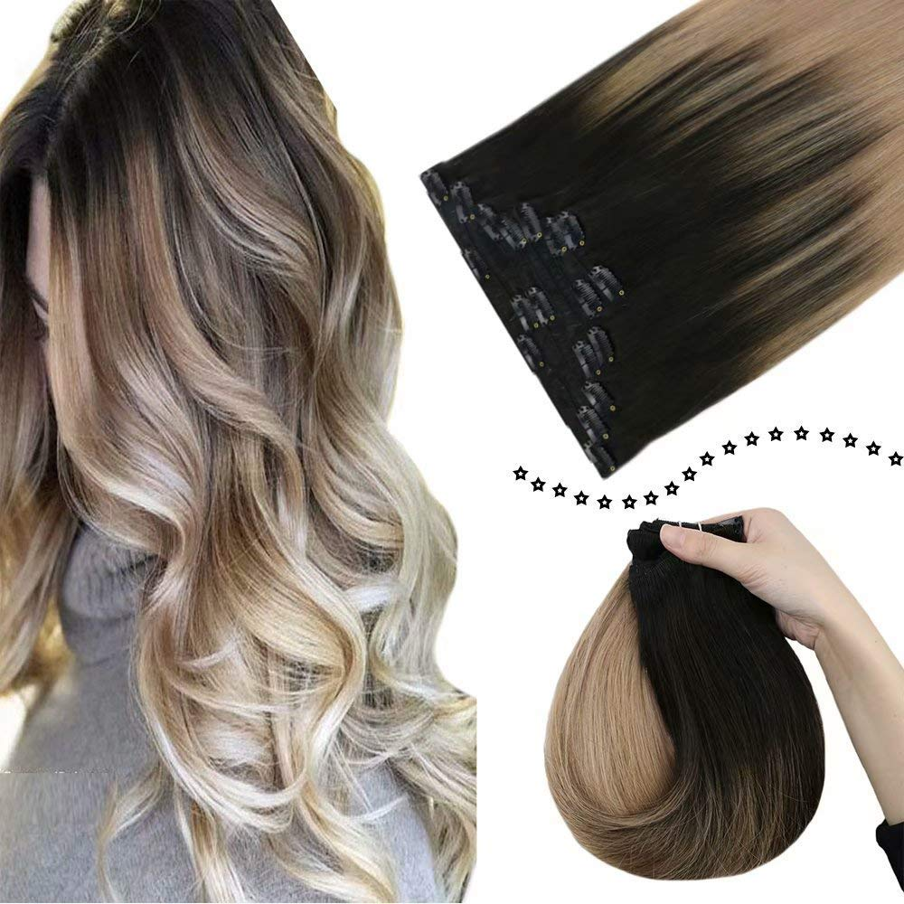 """[Best Price] Easyouth 20"""" Clip on Real Human Hair Extensions Balayage Color #1B/18 120g 7Pcs/Set Double Weft Clip ins Hair Extensions Full Head Clip in Brazilian Hair Extensions for Women"""