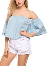 Zeagoo Off Shoulder Top Casual Short Sleeve Shirt Cute Loose Blouse