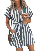 TOPUSH Womens Casual Stripe V Neck Short Sleeve Tie Waist Wrap Button Down Mini Dress with Pocket