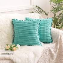 AQOTHES Corduroy Soft Decorative Throw Pillow Covers with Pom-poms, Granules Corn Design Square Cushion Pillowcases for Sofa Chair Couch Home Decor Decorations (Pack of 2, Teal, 18x18 inch)