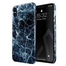 BURGA Phone Case Compatible with iPhone X iPhone Xs - Dark Ice Blue and Black Marble Cute Case for Women Thin Design Durable Hard Shell Plastic Protective Case