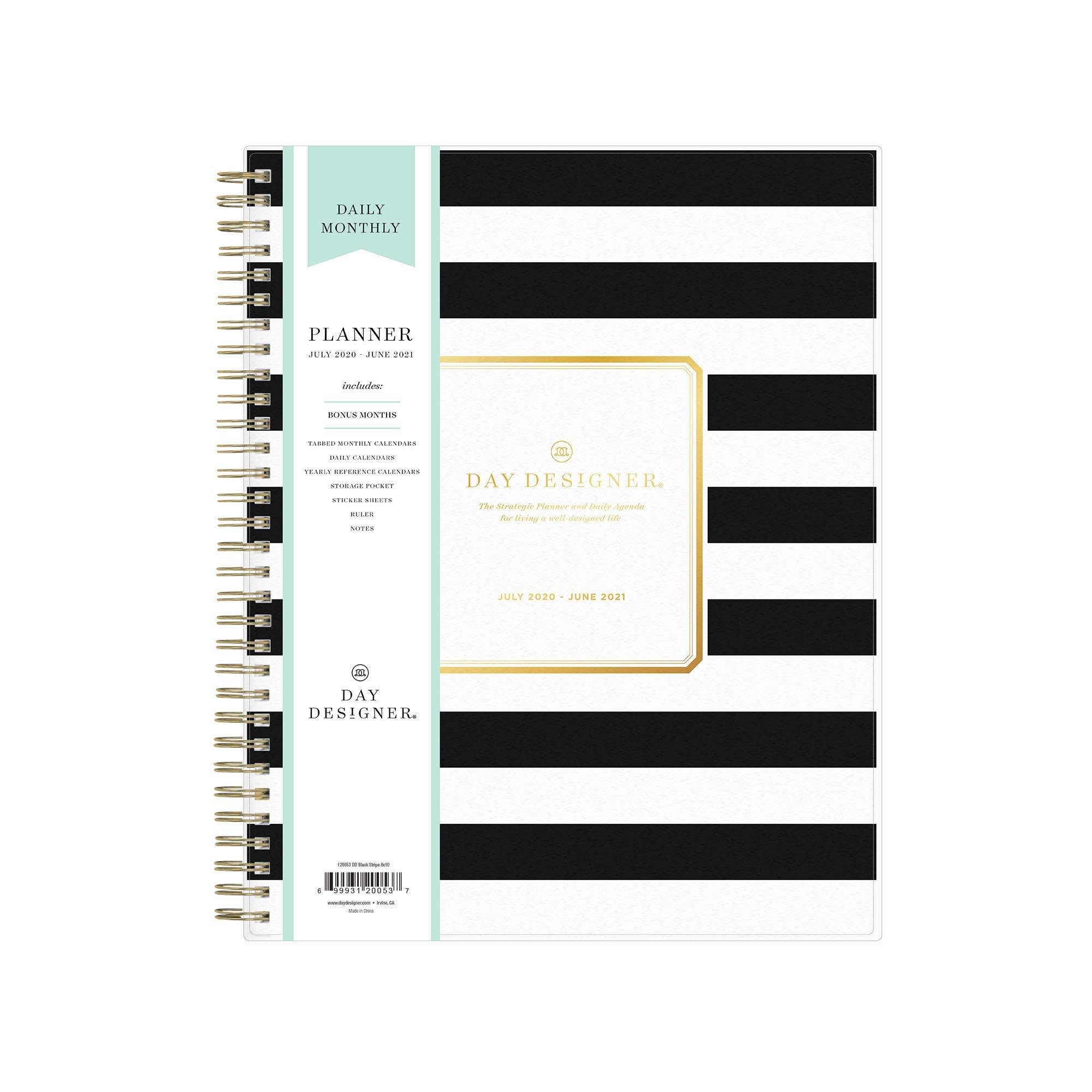 """Day Designer for Blue Sky 2020-2021 Academic Year Daily & Monthly Planner, Frosted Flexible Cover, Twin-Wire Binding, 8"""" x 10"""", Black Stripe"""