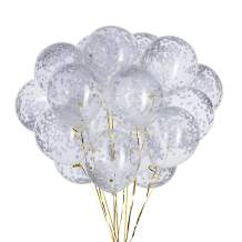 White Confetti Balloons – Pack of 20,Party helium Latex balloon Party Decorations Supplies,12 Inch