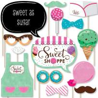 Big Dot of Happiness Sweet Shoppe - Candy and Bakery Birthday Party or Baby Shower Photo Booth Props Kit - 20 Count