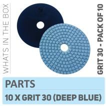Stadea PPW152D Concrete Sanding Polishing Pads 4 Inch Grit 30 - Diamond Pads For Concrete Terrazzo Marble Floor Granite Stone Counter Wet Polishing - Pack of 10