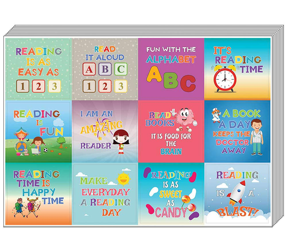 Creanoso Kids Reading Stickers (20-Sheet) – Colorful Inspiring Inspirational Love to Read Books Wall Stickers Premium Gift Set - Parent Teachers Incentives - Rewards Ideas for Boys, Girls