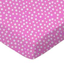 SheetWorld Fitted Cradle Sheet - Primary Stars White On Pink Woven - Made In USA