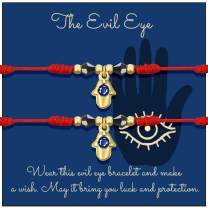 Shonyin Hamsa Hand Bracelet Evil Eye Pendant 7 Knots Kabbalah Red String Bracelet for Women Men Mal De Ojo Turkish Charm Bracelets for Mother Daughter Father Son Best Friend Family 2pcs
