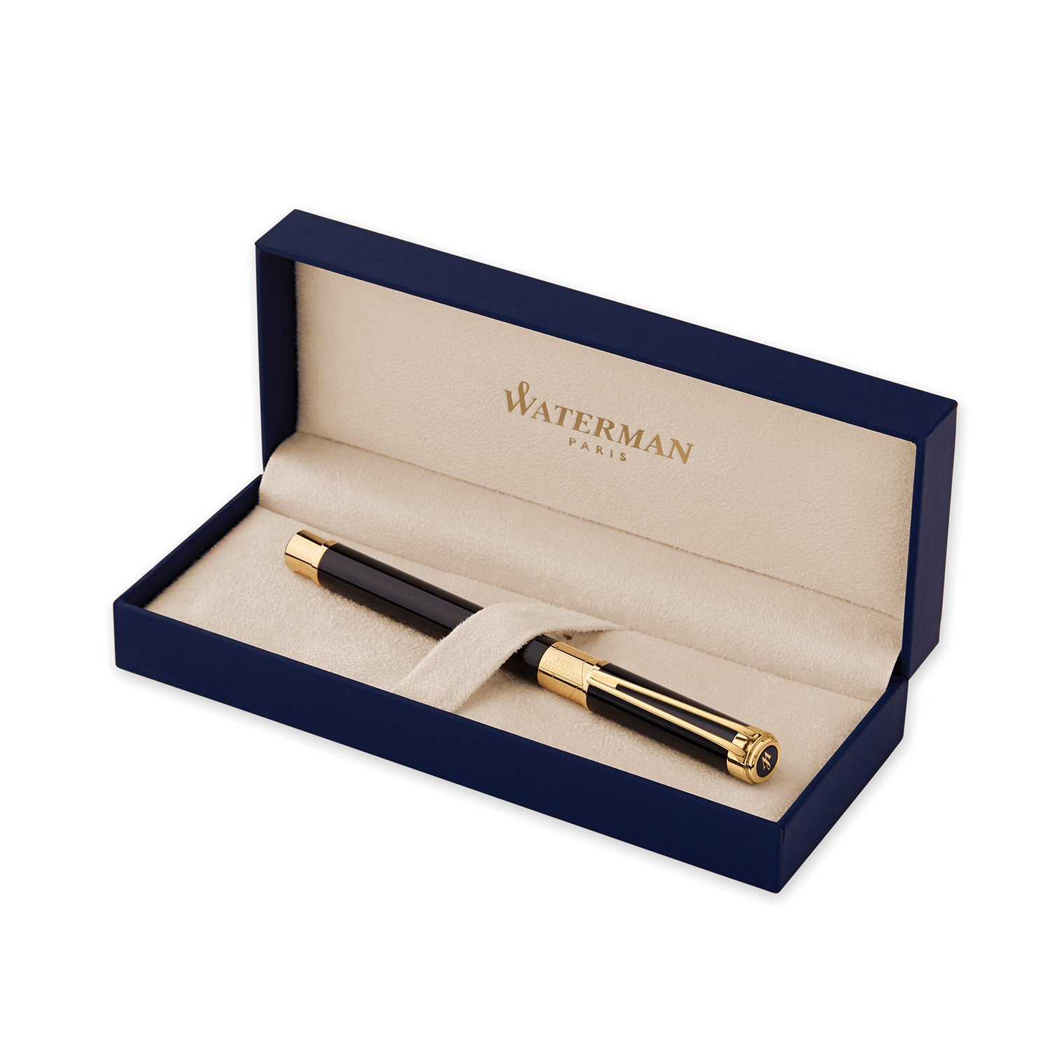 Waterman Perspective Fountain Pen, Gloss Black with 23k Gold Clip, Medium Nib with Blue Ink Cartridge, Gift Box