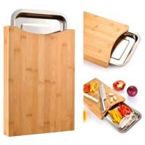Cutting Board with Containers Sliding Stainless Steel Tray Drawer Bamboo for Kitchen Easy Waste Removal & Food Prep, Organic Eco-Friendly Bamboo Chopping Board FDA Approved Wood Butcher Block