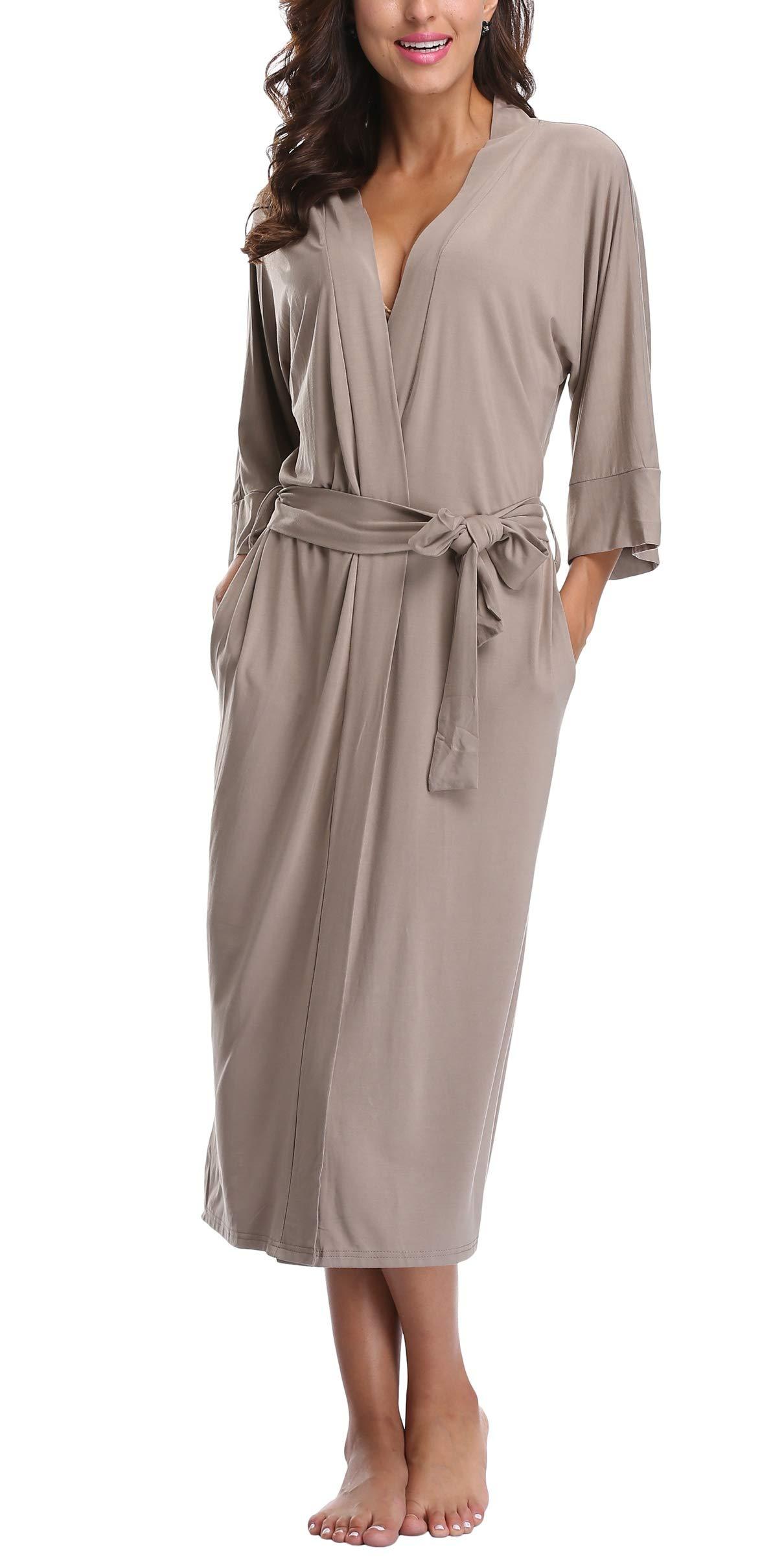 WitBuy Women's Long Cotton Robes for Women Modal Knit Bathrobes Full Length Dressing Gown