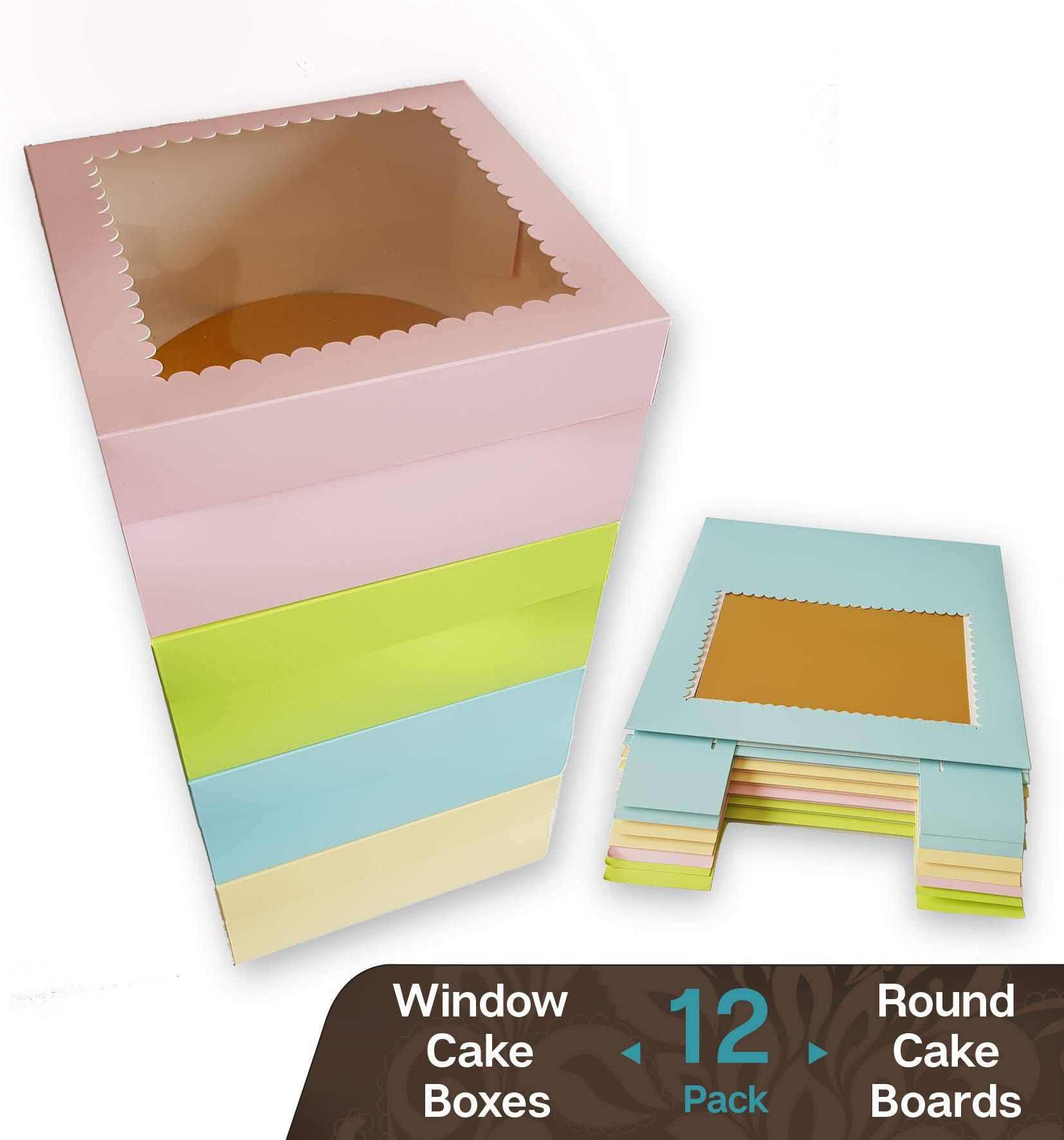 CooKeezz Couture - Cake Box - Colored Window Bakery Packaging Decorated Boxes Great for Donuts , Bakery , Pies - Assorted 12 Pack Decorated Boxes in 4 Pastel Colors , Included 12 Round Cake Boards (10x10x5)