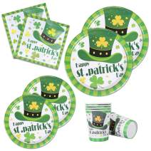 St Patrick's Day Paper Plates Napkins Cups Serves for 24 Guests Green Shamrocks Dinner Irish Party Supplies Disposable Dinnerware Set Decoration