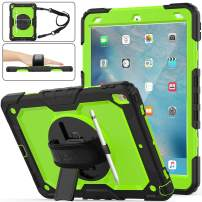 """iPad Air 3 Case 2019, SEYMAC Stock [Full-Body] Drop Proof &Shockproof Hybrid Armor Case with 360 Rotating Stand [Pencil Holder] Hand Strap for iPad Air 3 10.5"""" 2019/iPad Pro 10.5"""" 2017(Green+Black)"""
