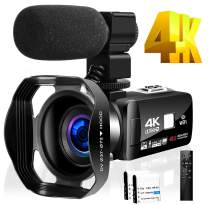 4K Camcorder Video Camera for YouTube HD 48MP 30FPS 18X Digital Zoom Camera 3.0 inch Touch Screen IR Night Vision with External Microphone and Remote Control