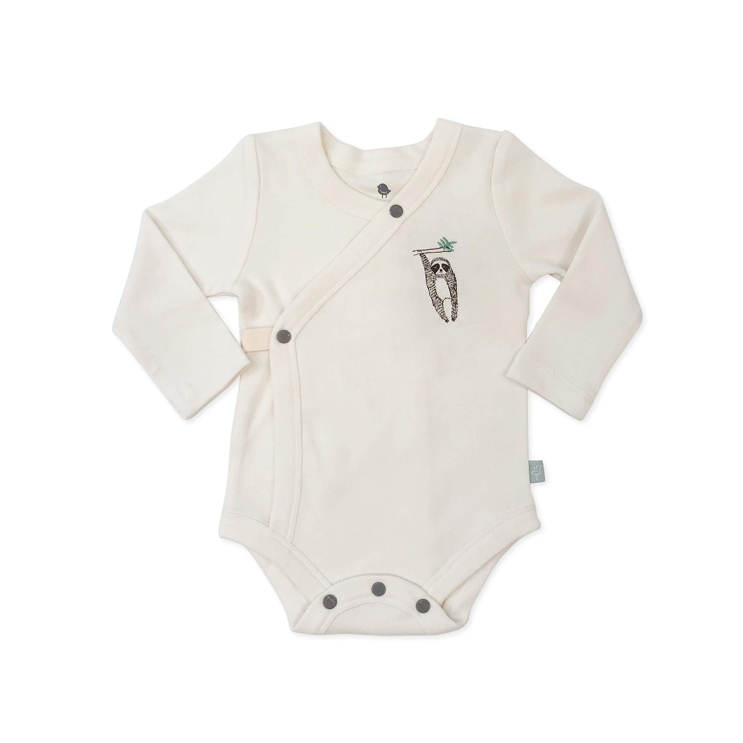 Finn + Emma Organic Cotton Long Sleeve Baby Bodysuit – Off White, 6-9 Months