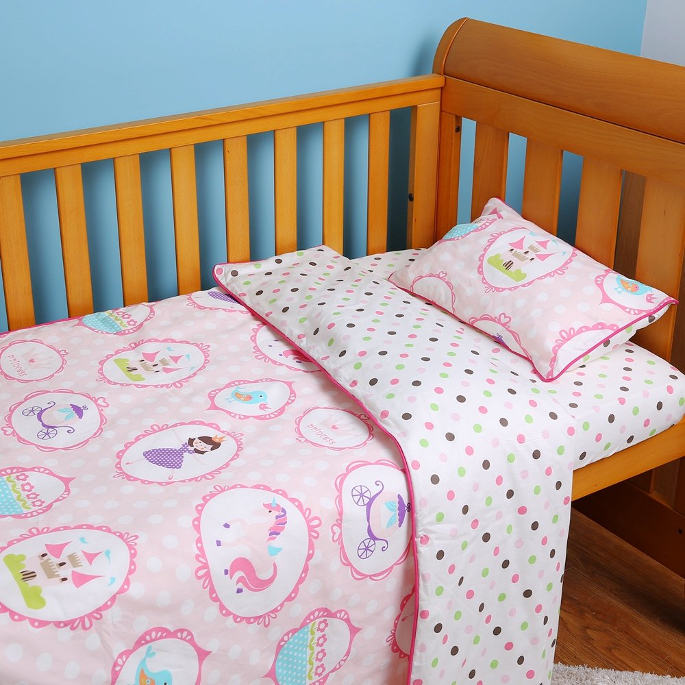 i-baby 4 Piece Crib Bedding Set Nursery Baby Bedding Set 100% Cotton Printed Fitted Sheet Duvet Pillow Toddler Cot Sets for Boys and Girls (Pink)