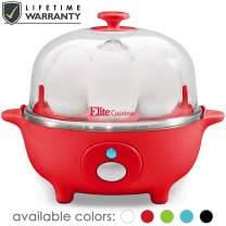 Maxi-Matic Easy Electric Egg Poacher, Omelet Measuring Cup Included, 7 Capacity, Red