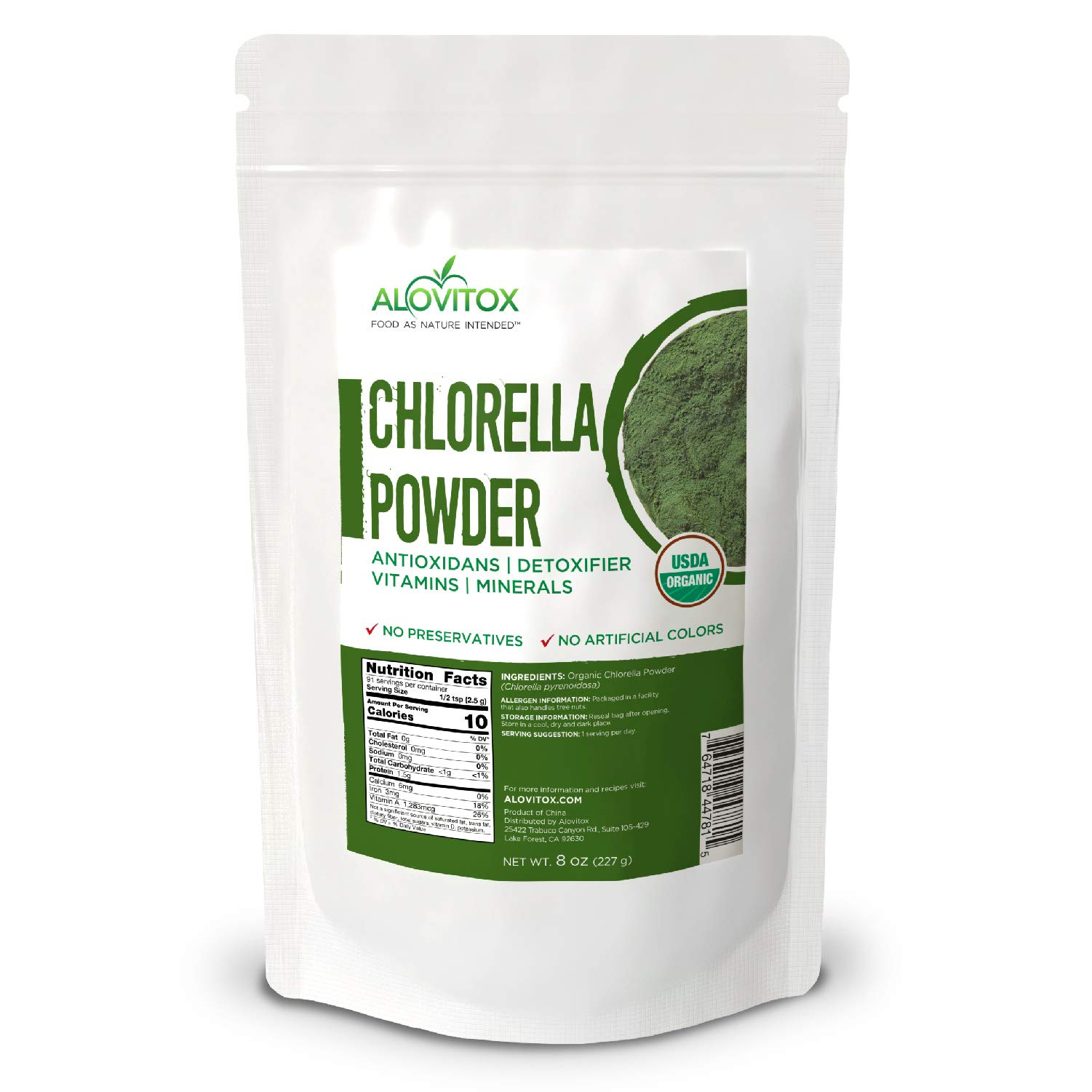 Organic Chlorella Powder 8oz   Nutrient Dense Superfood with Antioxidants, Proteins, Vitamins C, E, B Complex, Enzymes, Chlorophyll, Omegas 3 and More  USDA Organic Raw No Additives or Colors
