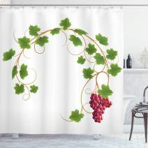 """Ambesonne Vineyard Shower Curtain, Curved Ivy Branch Deciduous Woody Wines Seeds Clusters Cabernet Theme Print, Cloth Fabric Bathroom Decor Set with Hooks, 84"""" Long Extra, Green Purple"""