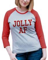 7 at 9 Apparel Women's Jolly AF Christmas Raglan Tee