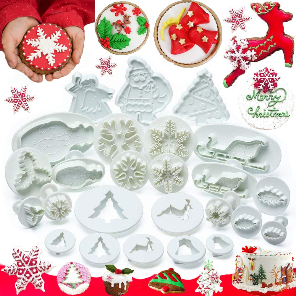 Christmas Cookie Cutter Set Cake Decorating Tools Fondant Plunger Cutters and Molds for Cupcake Snowman Tree Snowflake Sleigh Decor Mould 25 PCS