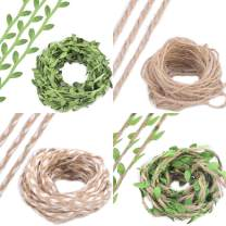 Felice Arts 552FT Natural Leaves Twine Artificial Leaves Jute Twine for Wedding Gift Wrapping Braided Decorated for Art & Crafting Home Wall Garden Wreaths Decor Party Supplies