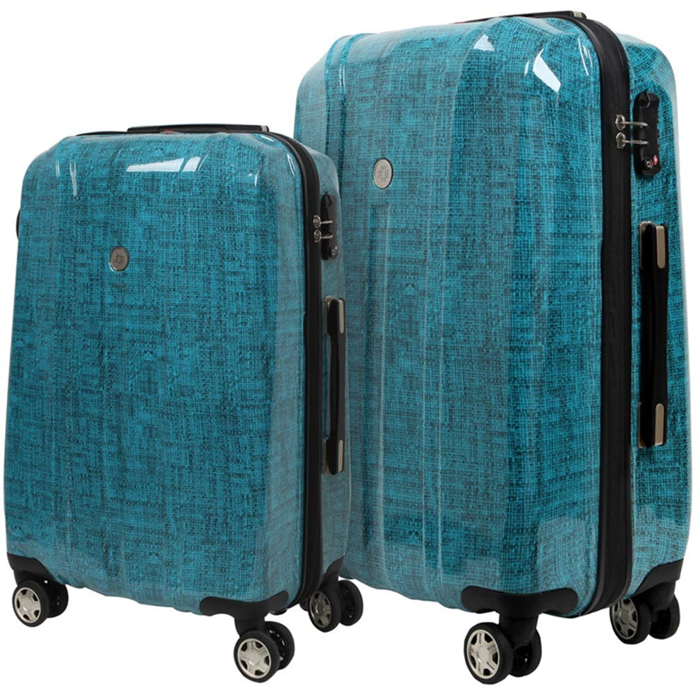 NEWCOM Luggage Sets 2 Piece 20 Inch 24 Inch Spinner Suitcase Lightweight PC Hard Shell Hardside Trolley Case Build-In TSA Lock (Blue 2 pcs)