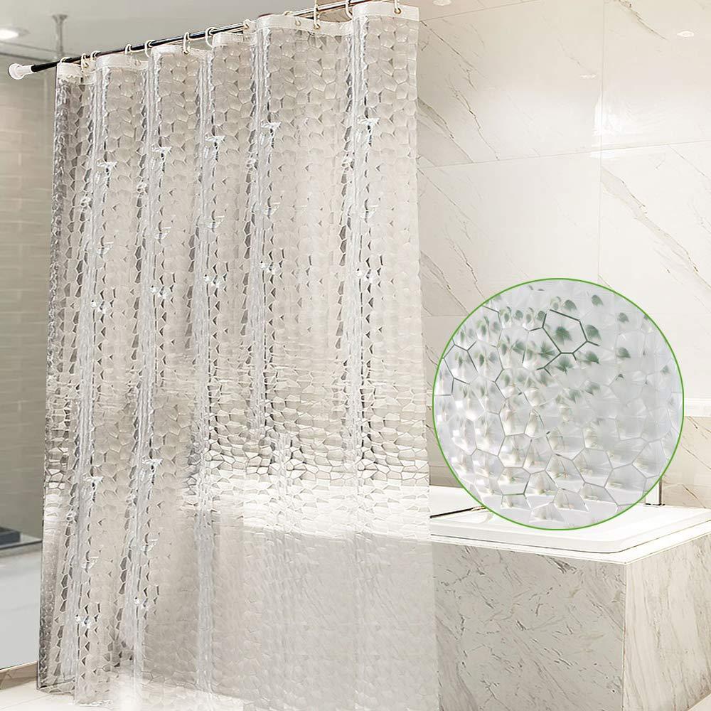 OTraki Heavy Duty Shower Curtain Liner Clear 72 x 78 inch 0.2mm Thicken 3D EVA Plastic Transparent Long Bath Curtains 12 Hooks Grommets Waterproof Bathroom Liner 180 x 200cm